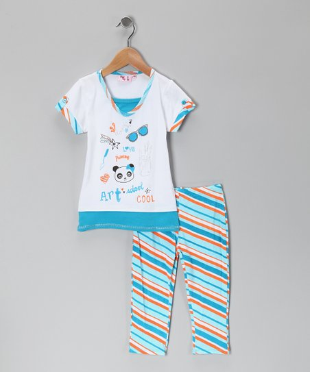 Turquoise Art Tunic & Leggings - Toddler