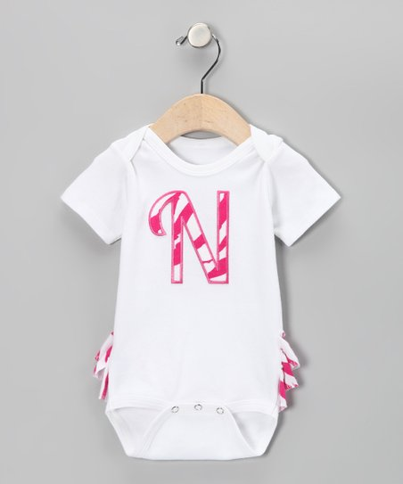 Hot Pink Zebra Initial Ruffle Bodysuit - Infant