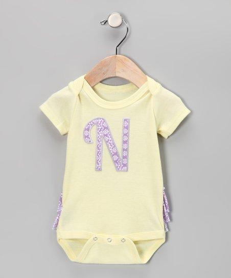 Yellow Initial Ruffle Bodysuit - Infant