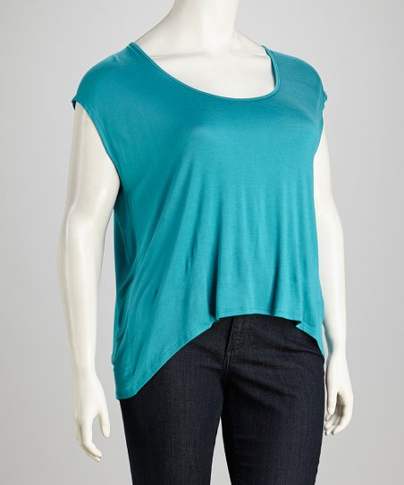 Turquoise Split-Back Top - Plus