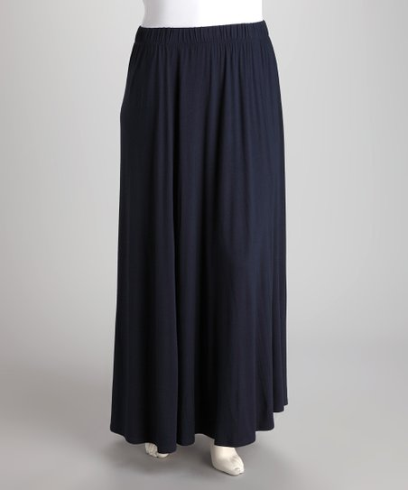 Navy Flare Maxi Skirt - Plus