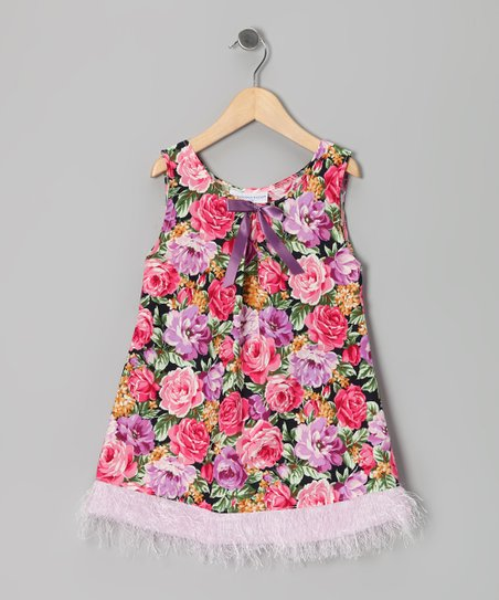 Pink & Purple Rose Fringe Dress - Infant & Toddler