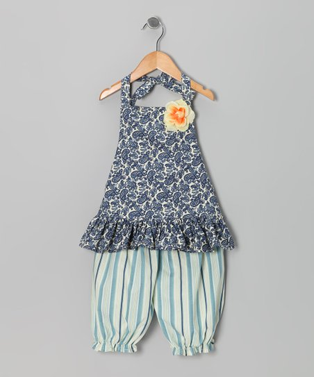 Navy & Ivory Paisley Halter Dress & Pants - Infant, Toddler & Girls