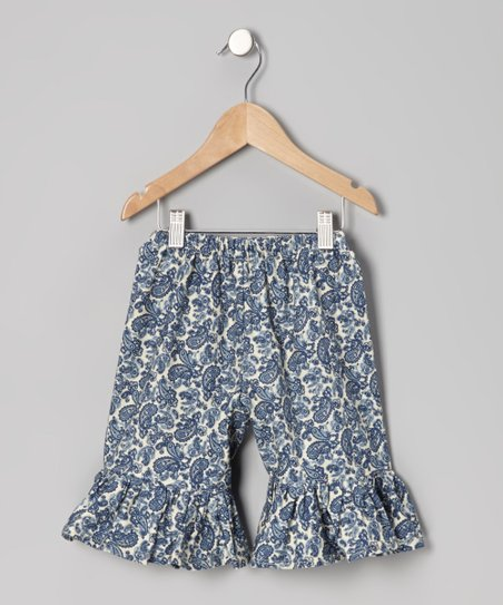 Ivory & Navy Paisley Ruffle Shorts - Infant, Toddler & Girls