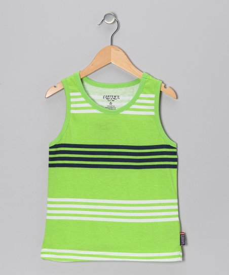 Electric Lime Stripe Tank - Boys