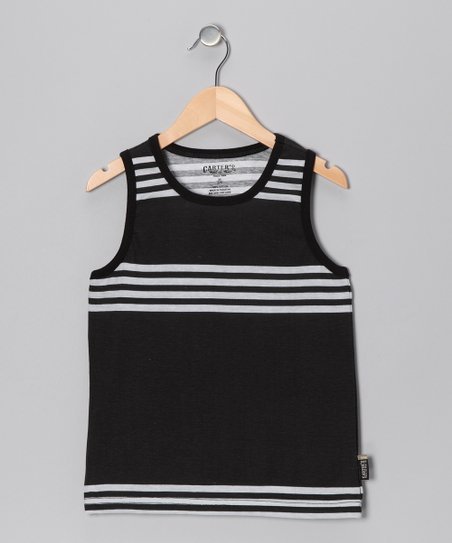 True Black Stripe Tank - Boys