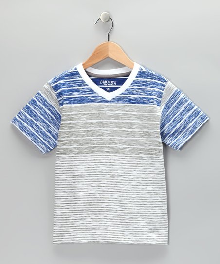 Iced Gray Stripe V-Neck Tee - Toddler &amp; Boys