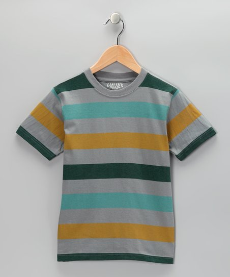 Iced Gray Stripe Crewneck Tee - Toddler & Boys