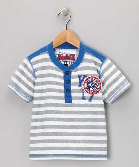 Gray Reverse Stripe Football Henley - Infant, Toddler & Boys
