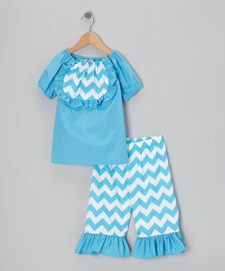 Blue Zigzag Top & Ruffle Capri Pants - Infant, Toddler & Girls