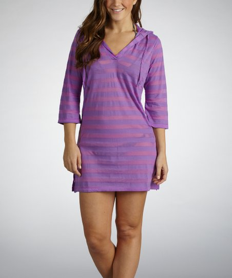 Sorbet Purple Sheer Stripe Hooded Cover-Up