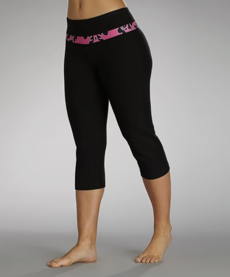 Black & Fuchsia High Society Slim-Fit Capri Pants