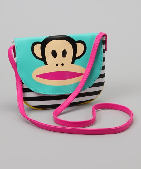 Blue & Pink Stripe Crossbody Bag