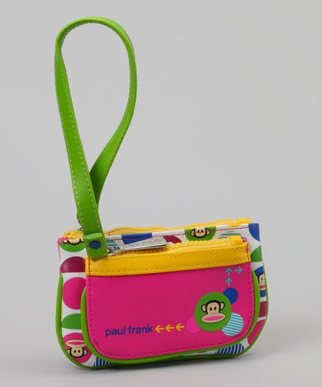 Neon Green &amp; Pink Monkey Polka Dot Wristlet