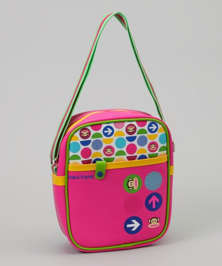 Neon Green & Pink Monkey Polka Dot Bag
