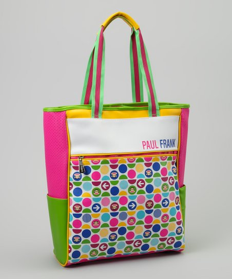 Neon Green & Pink Monkey Polka Dot Tote