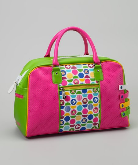 Neon Green & Pink Polka Dot Duffel Bag