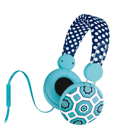 Navy Malibu Teeny Dot Microphone Headphones
