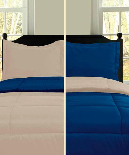 Navy & Khaki Microfiber Reversible Comforter Set