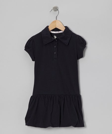 Navy Bubble Polo Dress - Girls