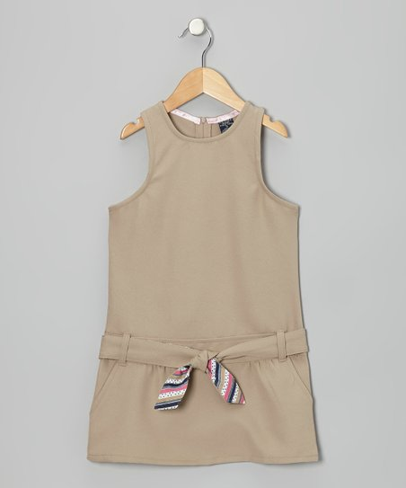 Khaki Belted Drop-Waist Jumper - Girls