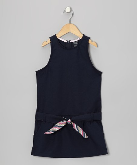 Navy Belted Drop-Waist Jumper - Girls