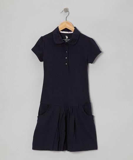 Navy Pocket Polo Dress - Girls