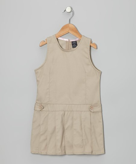 Khaki Pleated Jumper - Girls