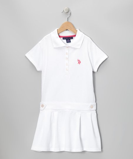 White Polo Drop-Waist Dress - Girls