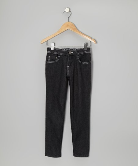 Medium Wash & White Skinny Jeans - Girls