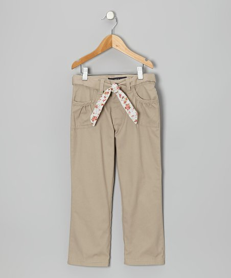 Khaki Floral Tie Ruched Pocket Pants - Girls