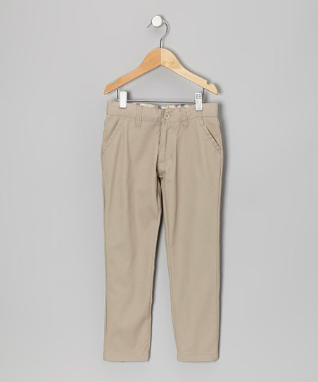Khaki Slant Pocket Pants - Girls