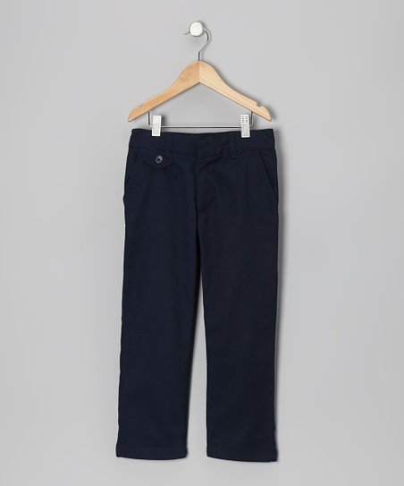 Navy Tab Pocket Pants - Girls