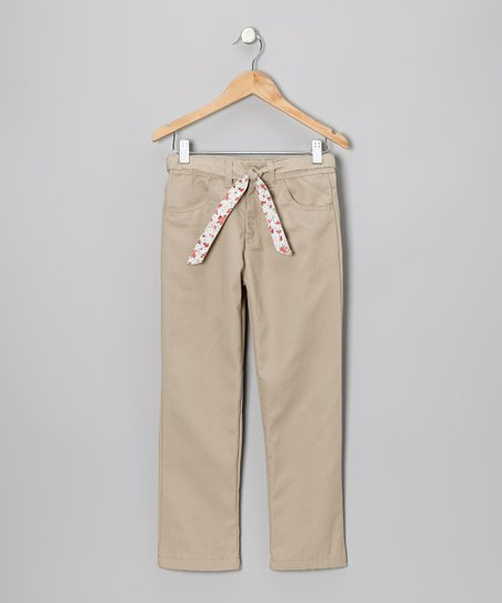 Khaki Floral Tie Pants - Girls