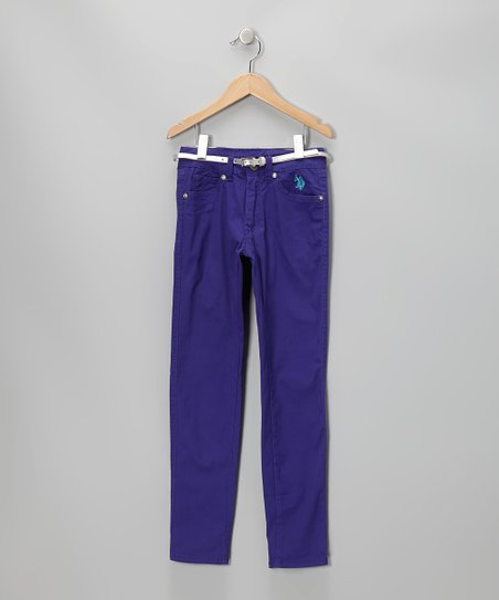Plum Belted Pants - Girls
