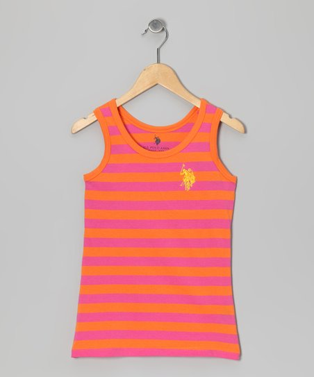 Orange & Pink Stripe Tank - Girls