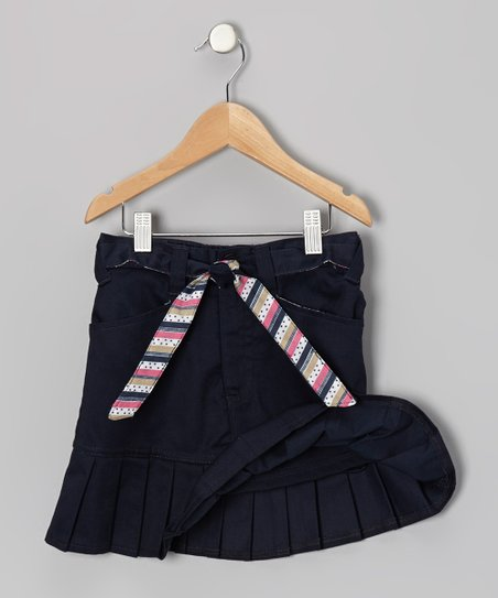 Navy Stripe Tie Drop Pleat Skort - Girls