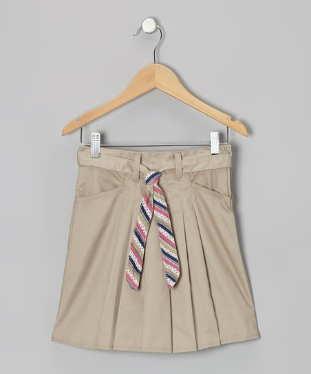 Khaki Stripe Tie Box Pleat Skort - Girls