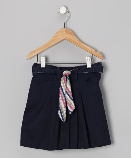 Navy Stripe Tie Box Pleat Skort - Girls