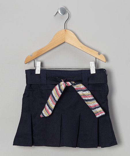 Navy Stripe Tie Pleated Skort - Girls