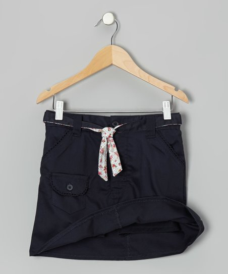 Navy Floral Tie Pocket Skort - Girls