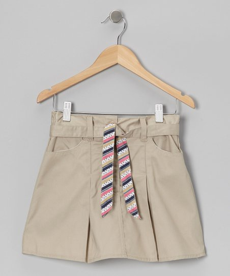 Khaki Stripe Tie Skort - Girls