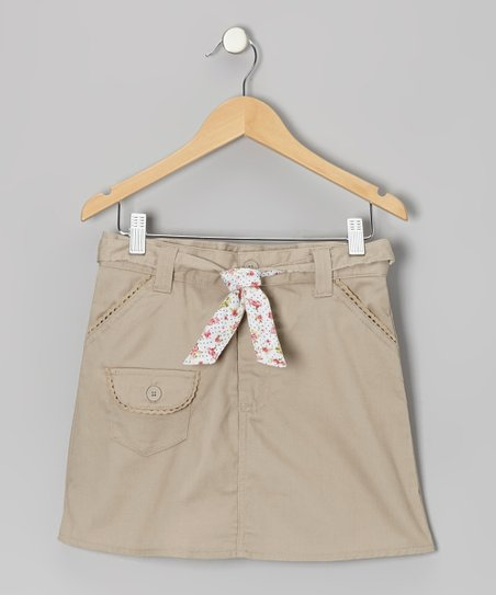Khaki Floral Tie Pocket Skort - Girls
