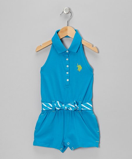 Teal Polo Romper - Infant