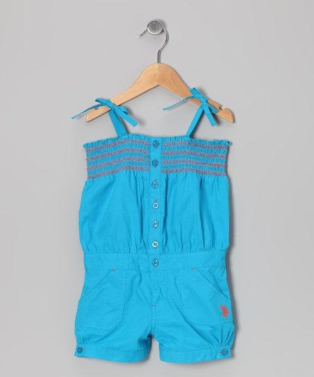 Teal Shirred Romper - Girls