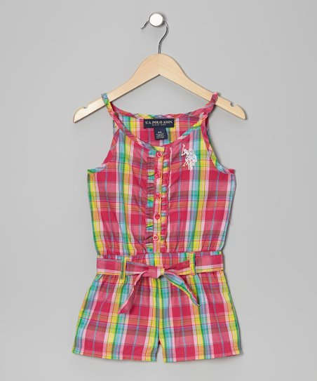 Pink Plaid Ruffle Button-Up Romper - Girls