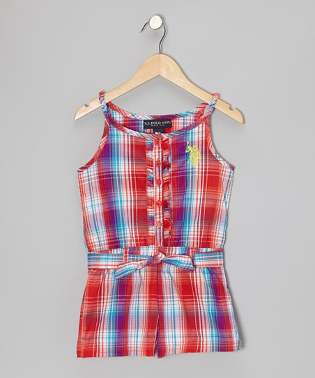 Red Plaid Ruffle Button-Up Romper - Girls