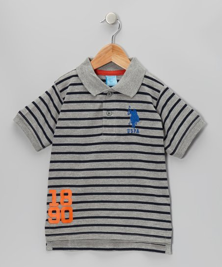 Light Heather Stripe Polo - Boys