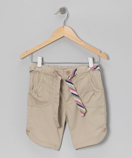 Khaki Stripe Tie Ruched Pocket Shorts - Girls