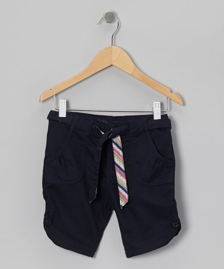Navy Stripe Tie Ruched Pocket Shorts - Girls